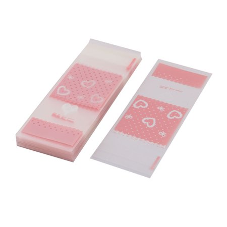 Plastic Heart Pattern Sundries Holder DIY Packaging Wrapping Bag Pink 100 Pcs