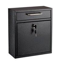 AdirOffice Galvanized Steel Wall Mountable Large Mail/File Box w/Key Lock, Black