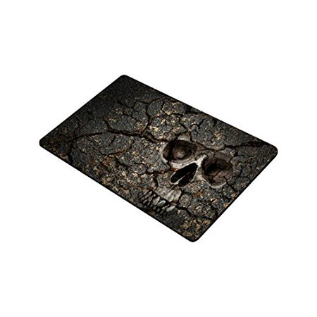 CADecor Human Skull Pattern On Grunge Cracked Wall Indoor/Outdoor Decor Rug Doormat 30x18 - Cracked Skull