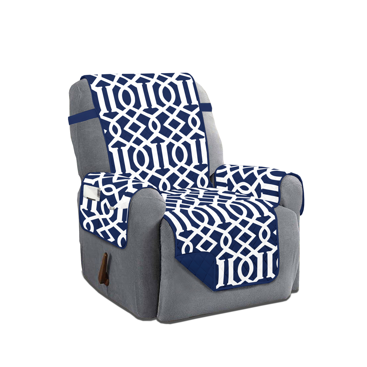 Dallas Reversible Solid/Print Microfiber Furniture Protector With Strap & Side Pockets (Recliner, Navy)