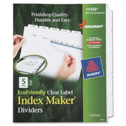 "Skilcraft 5-tab Clear Label Index Maker Divider - Print-on - 8.50"" X 11"" - 5 Set - White Divider (NSN6006981)"