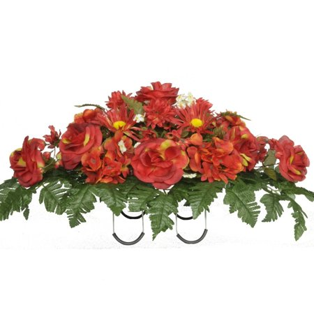 Hydrangea Ribbon (Fire Red Roses and Hydrangeas Artificial Saddle Arrangement (SD8003))