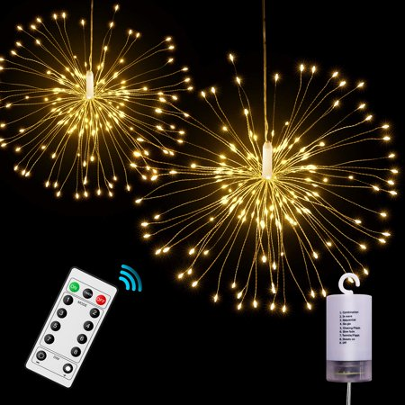 Reactionnx LED String Firework Lights, 8 Modes Dimmable with Remote Control, Battery Operated Hanging Starburst Lights with 80 LED, IP65 Waterproof, Decorative Copper Wire Lights for Parties](Led Hanging Lights)