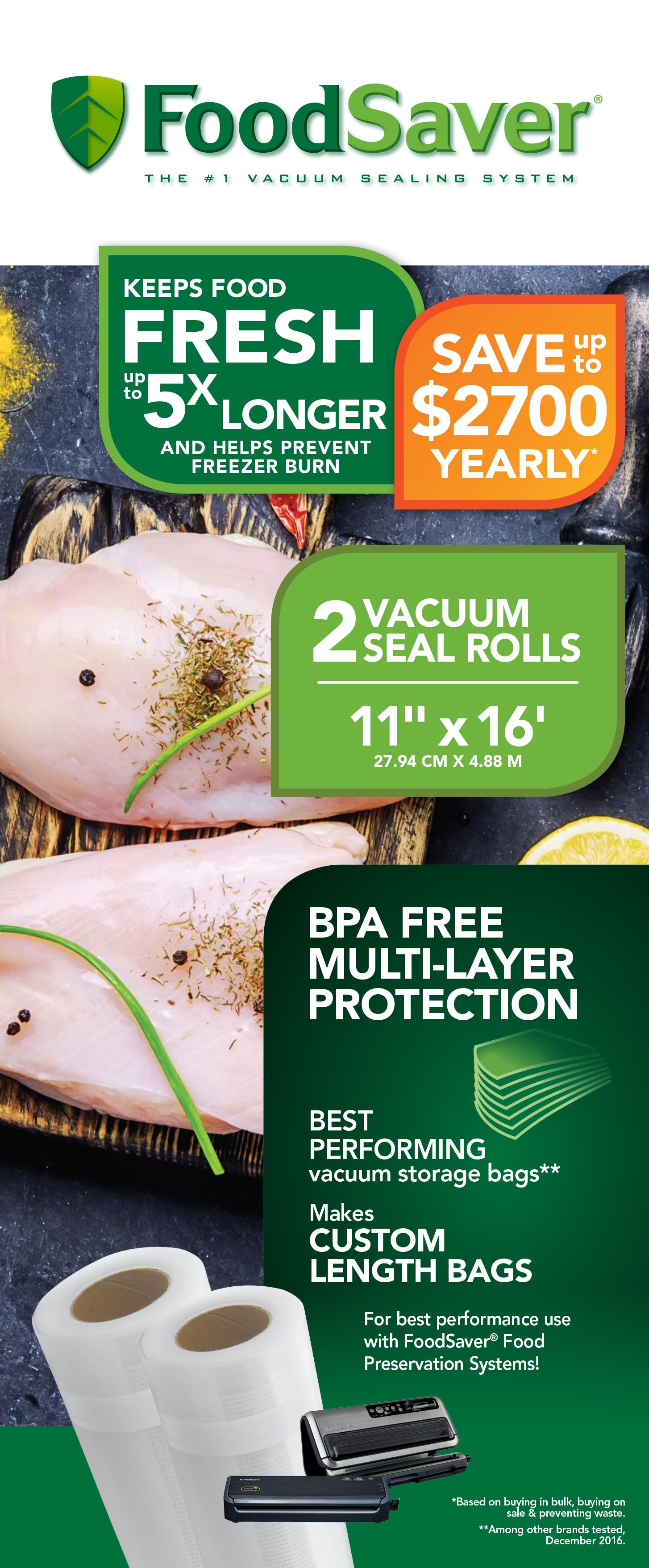"Food Vacuum Sealer Bags 11/""x25/' Vaccum Saver Storage Seal Bag 4 Rolls"