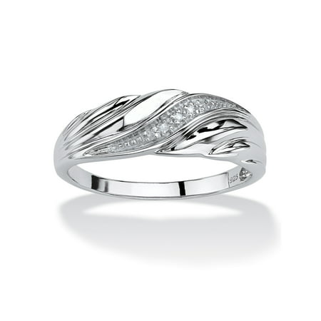 Men's Diamond Accent Platinum over Sterling Silver Diagonal Swirl Wedding Band (Platinum Designer Wedding Band)
