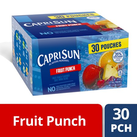 Capri Sun 35% Less Sugar Fruit Punch Flavored Juice Drink Blend, 30-6 fl oz - Halloween Punch Drink