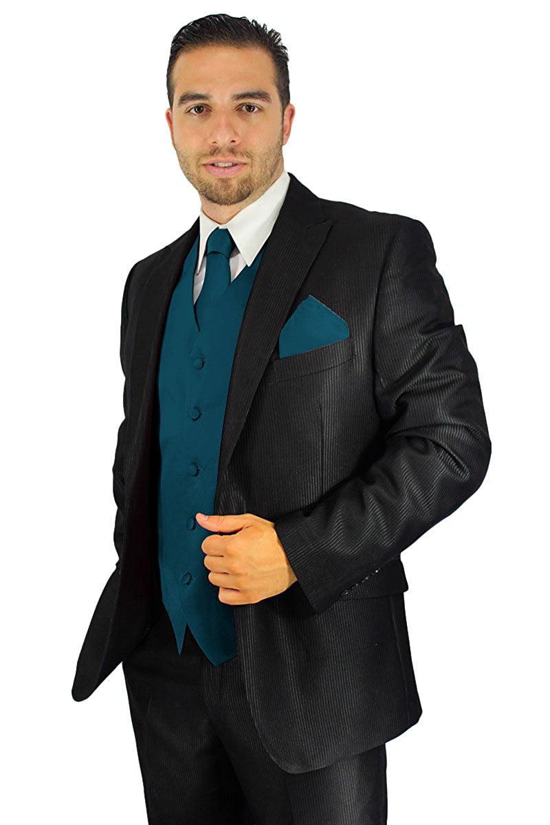 Enimay Men's Combo Pack 3pc Set Solid Vest Tie Hankerchief Prom Wedding Formal Off White Size S