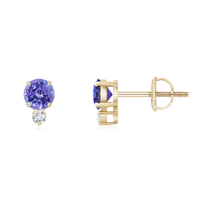 Angara Four-Prong Set Tanzanite Basket Stud Earrings in 14k Yellow Gold