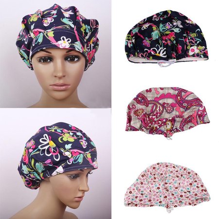 Obstce (Asian Size)Floral Print Scrub Cap Hospital Medical Surgical Surgery Hat for Doctor Nurses