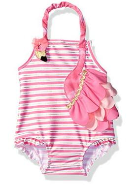 Mud Pie Girls' Swimsuit One Piece, Flamingo, 5 Toddler