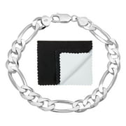 Men's 9.3mm .925 Sterling Silver Nickel Free Figaro Chain Link Bracelet, 8 inches + Jewelry Cloth & Pouch