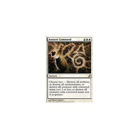 - Austere Command - Lorwyn, A single individual card from the Magic: the Gathering (MTG) trading and collectible card game (TCG/CCG). By Magic: the