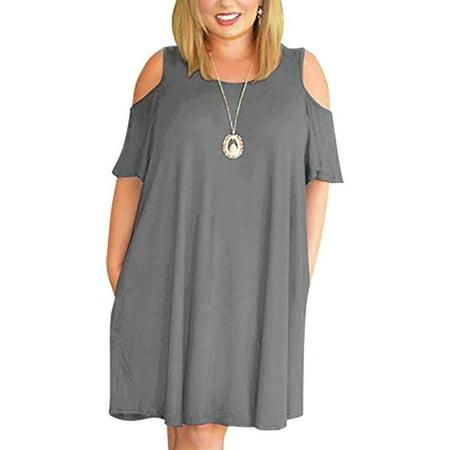 Women's Cold Shoulder Plus Size Casual T-Shirt Swing Dress Pockets
