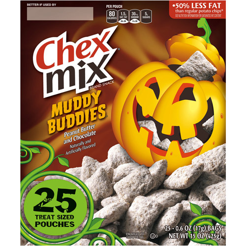 Chex Mix Muddy Buddies Peanut Butter and Chocolate Halloween Snack Mix, 0.6 oz, 25 count