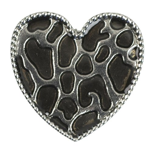 Cousin Snap in Style Metal Snap, Animal Print Heart