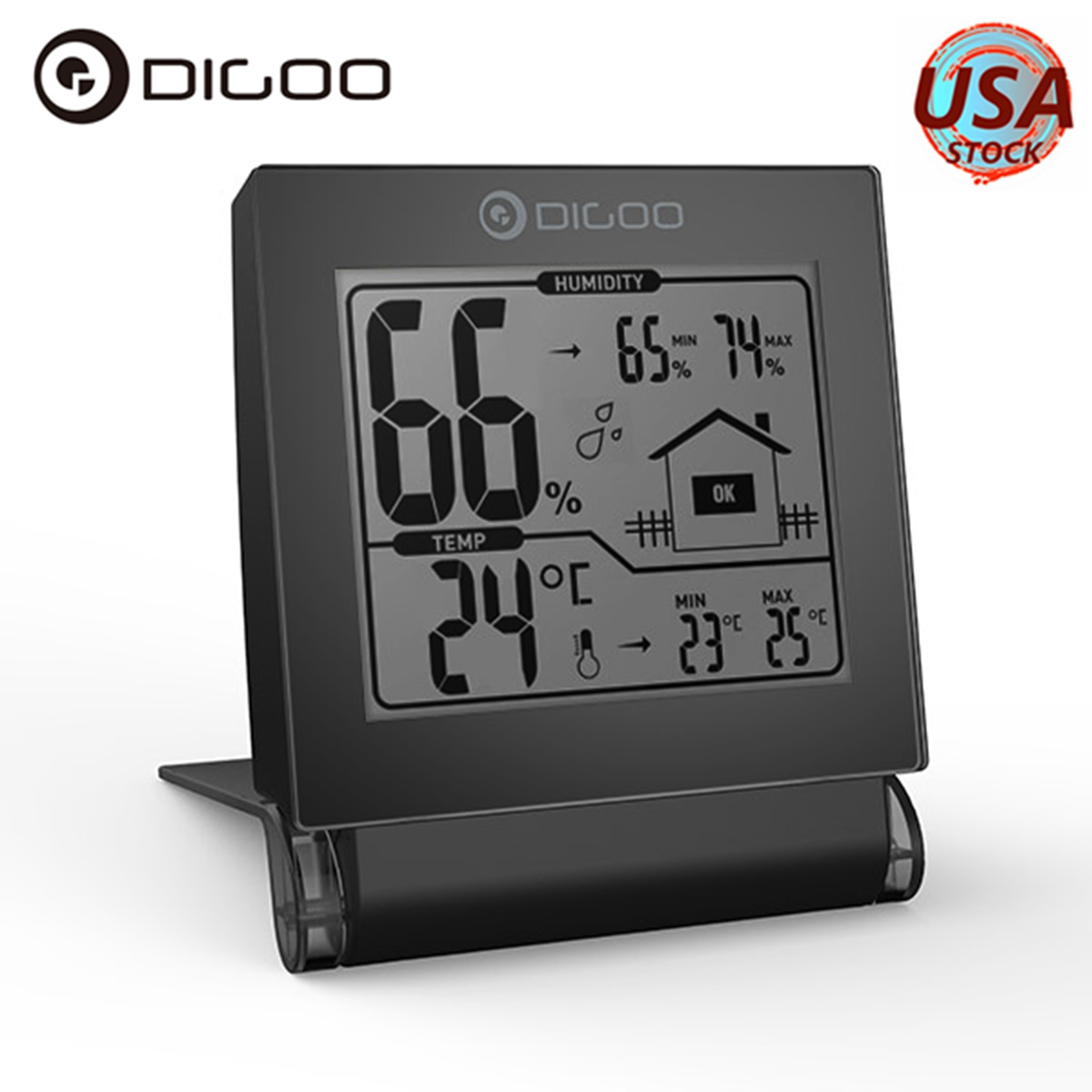 Digoo Wireless Foldable Indoor Thermometer Hygrometer Digital LCD Display Max Min Temperature Humidity Trend Display Meter Monitor