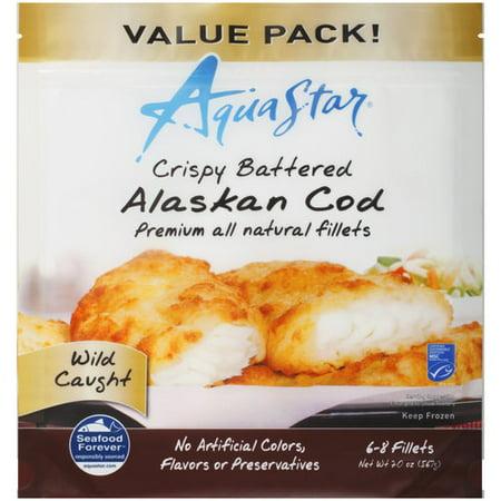 Aqua star crispy battered alaskan cod fillets 20 oz for Cod fish walmart