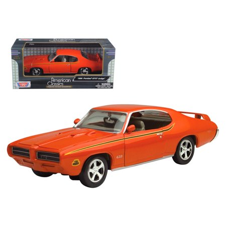 Gtr Diecast Car - 1969 Pontiac GTO Judge Orange 1/24 Diecast Model Car by Motormax