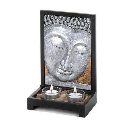 Small Glass Candle Holder, Buddha Plaque Modern Colored Tabletop Tealight Holder