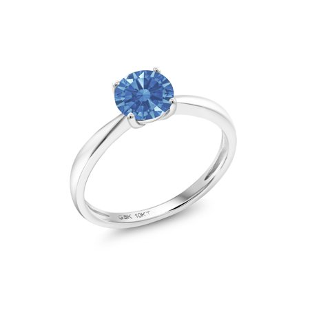 10K White Gold Solitaire Ring Set with Round Fancy Blue Zirconia from  Swarovski