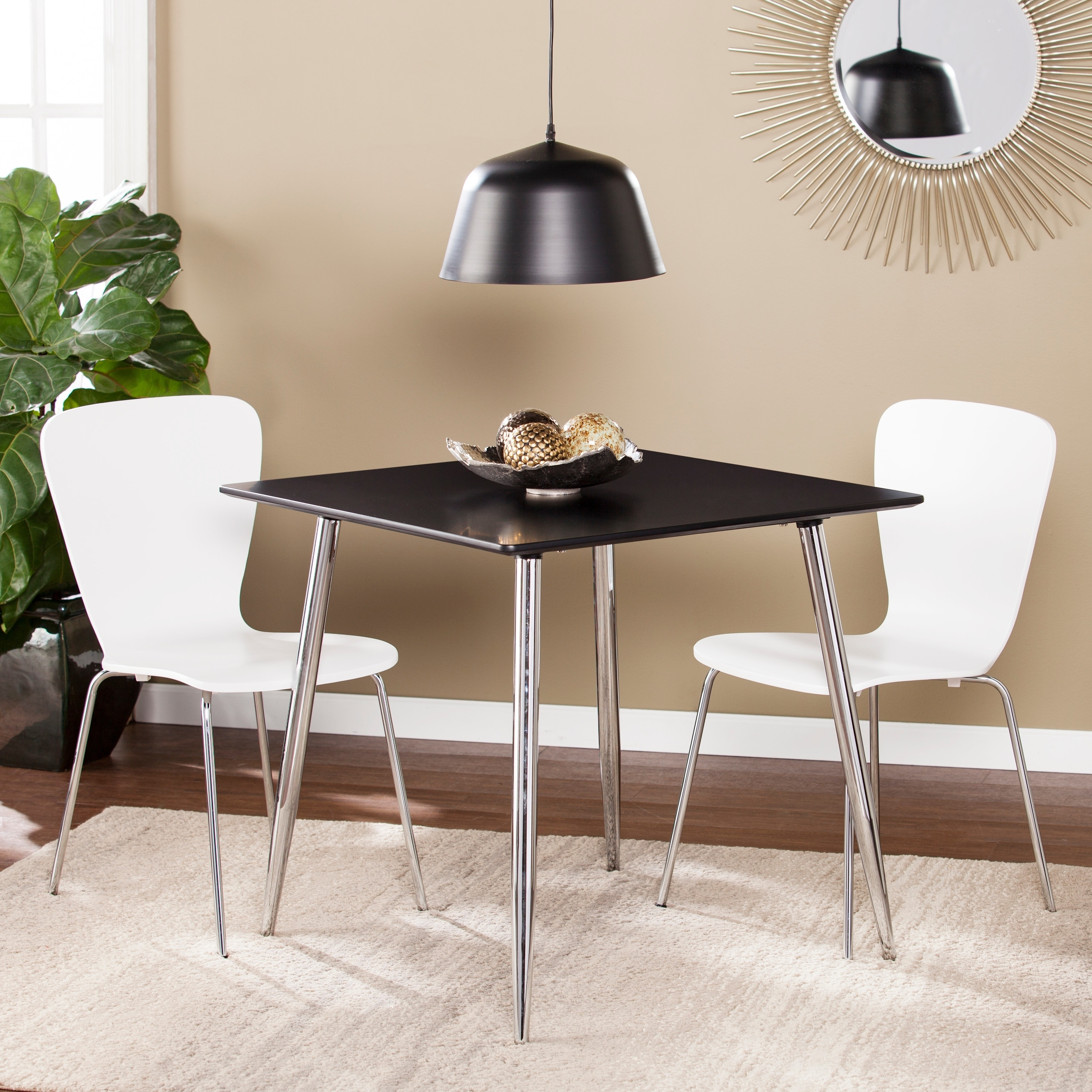 Harper Blvd Berman Black Square Small Space Dining Game Table by Overstock