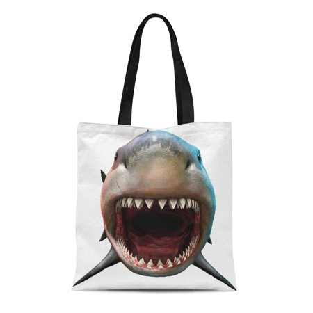ASHLEIGH Canvas Tote Bag Bite Shark Biting 3D Front Teeth Megalodon Attacking Big Durable Reusable Shopping Shoulder Grocery (Best Place To Find Megalodon Shark Teeth)