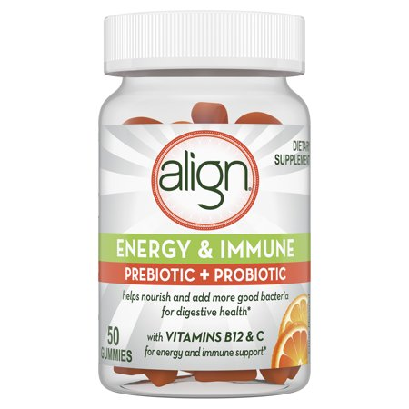 Align Energy & Immune Prebiotic + Probiotic Supplement Gummies, Citrus Flavored, 50ct, #1 Doctor Recommended