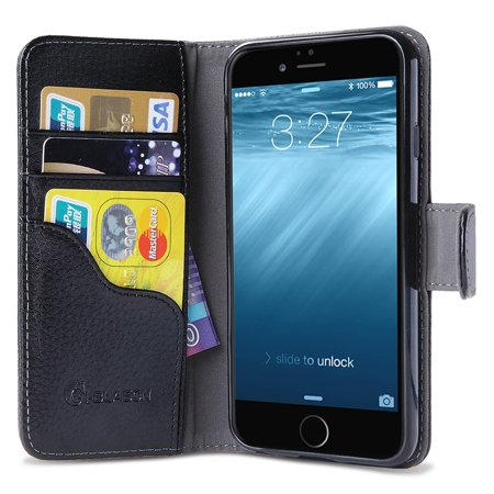 Iphone 6S Plus Case  Wallet Case I Blason   Apple Iphone 6 Plus Case 5 5 Inch Leather Cover With Credit Card Black