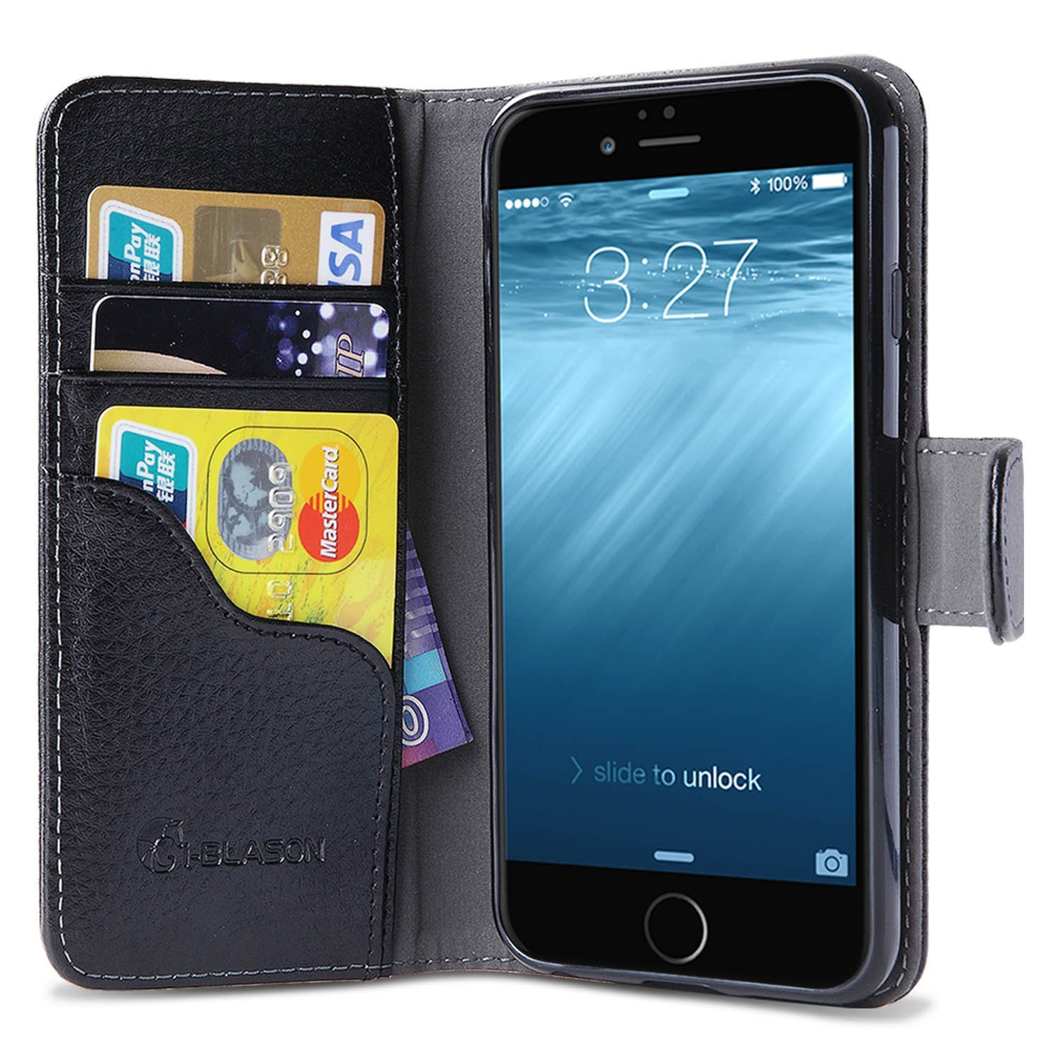 iPhone 6s Plus Case, Wallet Case i-Blason,  Apple iPhone 6 Plus Case 5.5 Inch Leather Cover with Credit Card-Black