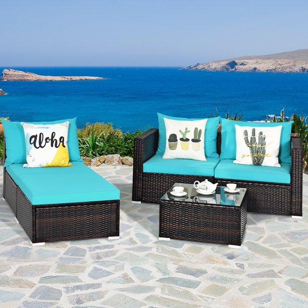 Costway 5PCS Patio Furniture Set Sectional Conversation Sofa Set w/ Coffee Table Blue