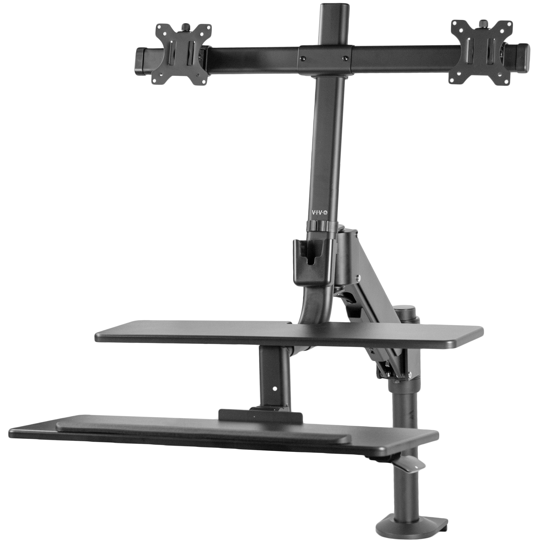 "VIVO Black Dual Monitor Sit-Stand Adjustable Workstation Standing Desk Mount | Holds 2 Screens 17"" to 27"" (STAND-SIT2D)"