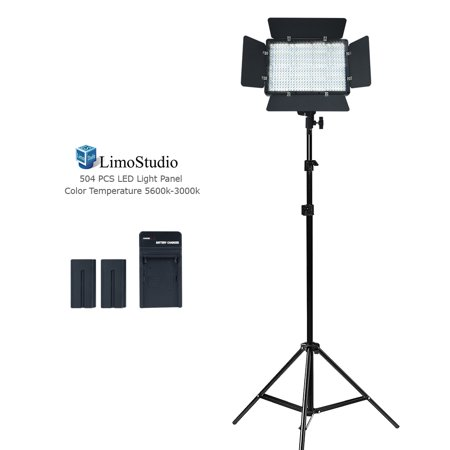 Loadstone Studio LED Barn Door Light Panel, Dimmable Brightness Control Color Temperature Control Continuous Lighting Kit, AC Power Cord, Light Stand Tripod, Photo Studio, - Tri Panel 9 Light