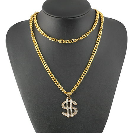 Hip Hop Style Dollar Sign Alloy Pendant Surfer Chain Necklace Gold Unisex Jewell