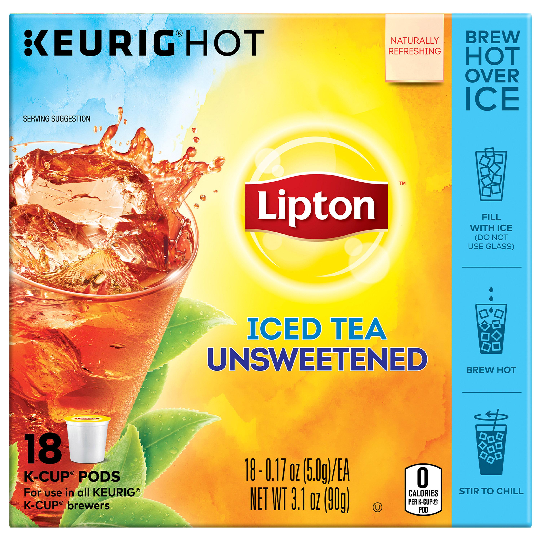 Lipton K-Cup Unsweetened Iced Tea K-Cups, 18 ct