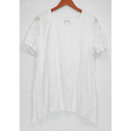 - Denim & Co. Women's Top Sz L Short Sleeve Trapeze Tee w/ Lace White A290285