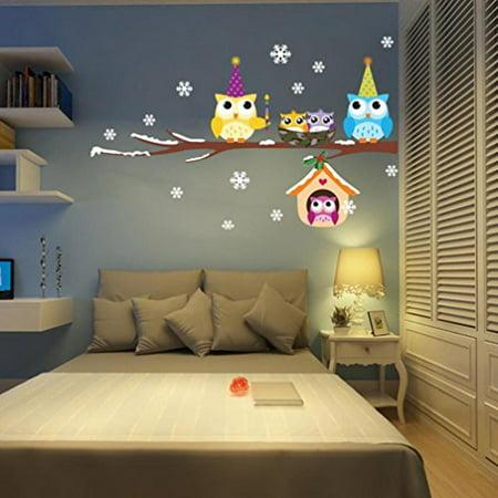 Ussore Kids Cartoon Owl DIY Vinyl Wall Stickers Home Decor for living room bedroom bathroom kitchen ()