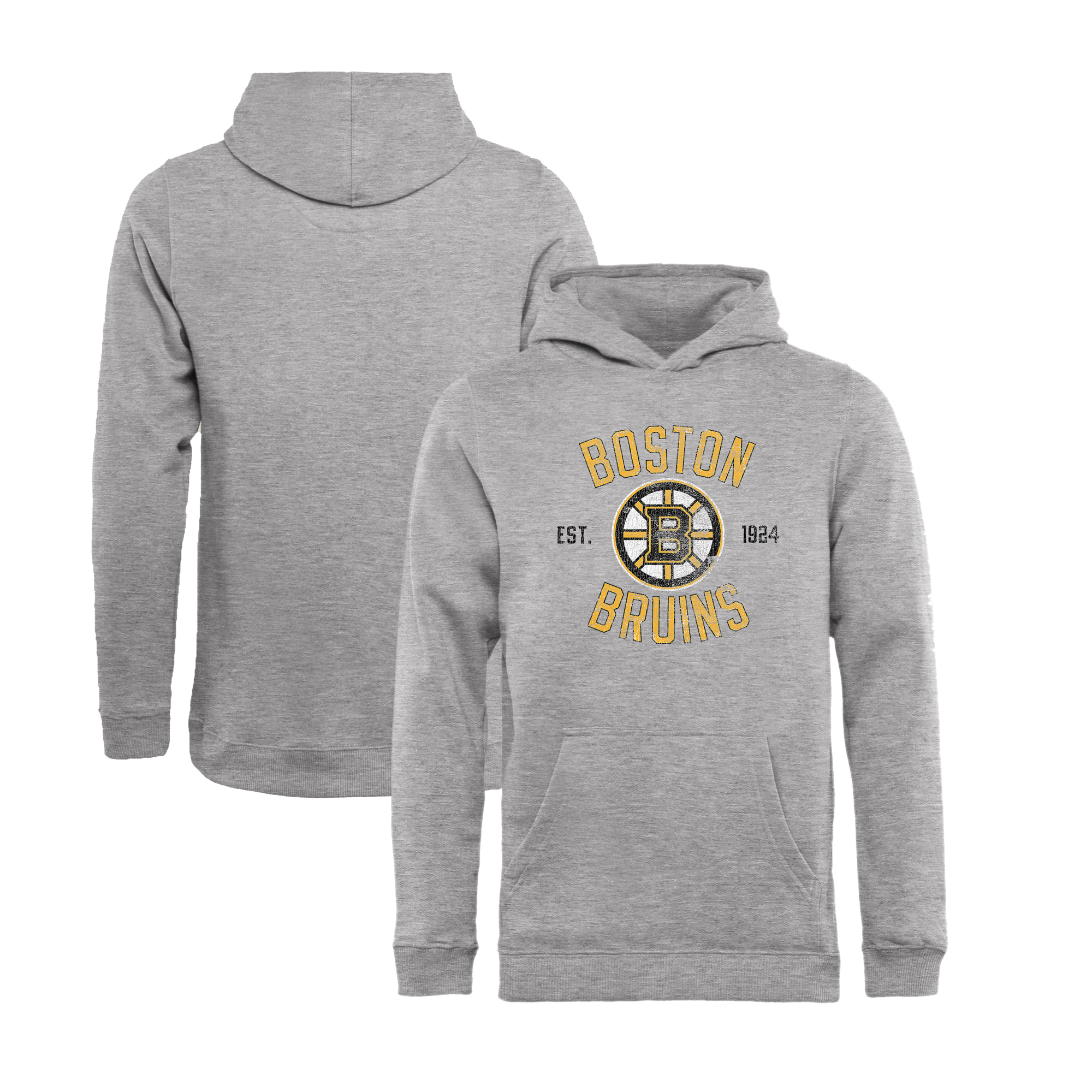 Boston Bruins Fanatics Branded Youth Heritage Pullover Hoodie - Ash