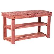 Household Essentials 2-Tier Cedar Shoe Rack and Seat Bench