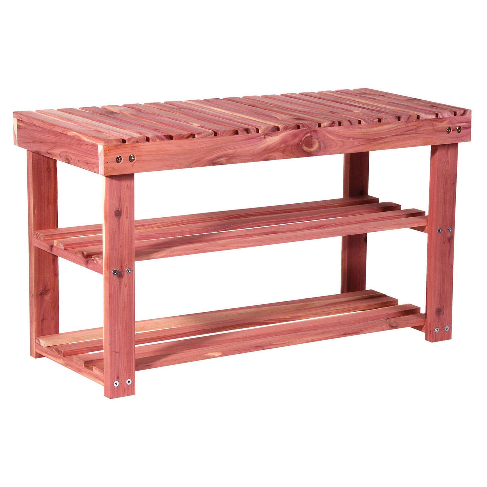 Household Essentials 2-Tier Cedar Shoe Rack and Seat Bench