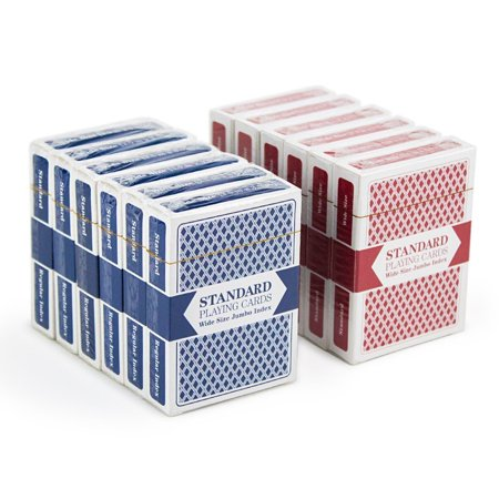 Brybelly Playing Cards, 12-pack (6 Red/6 Blue), Wide Size, Jumbo