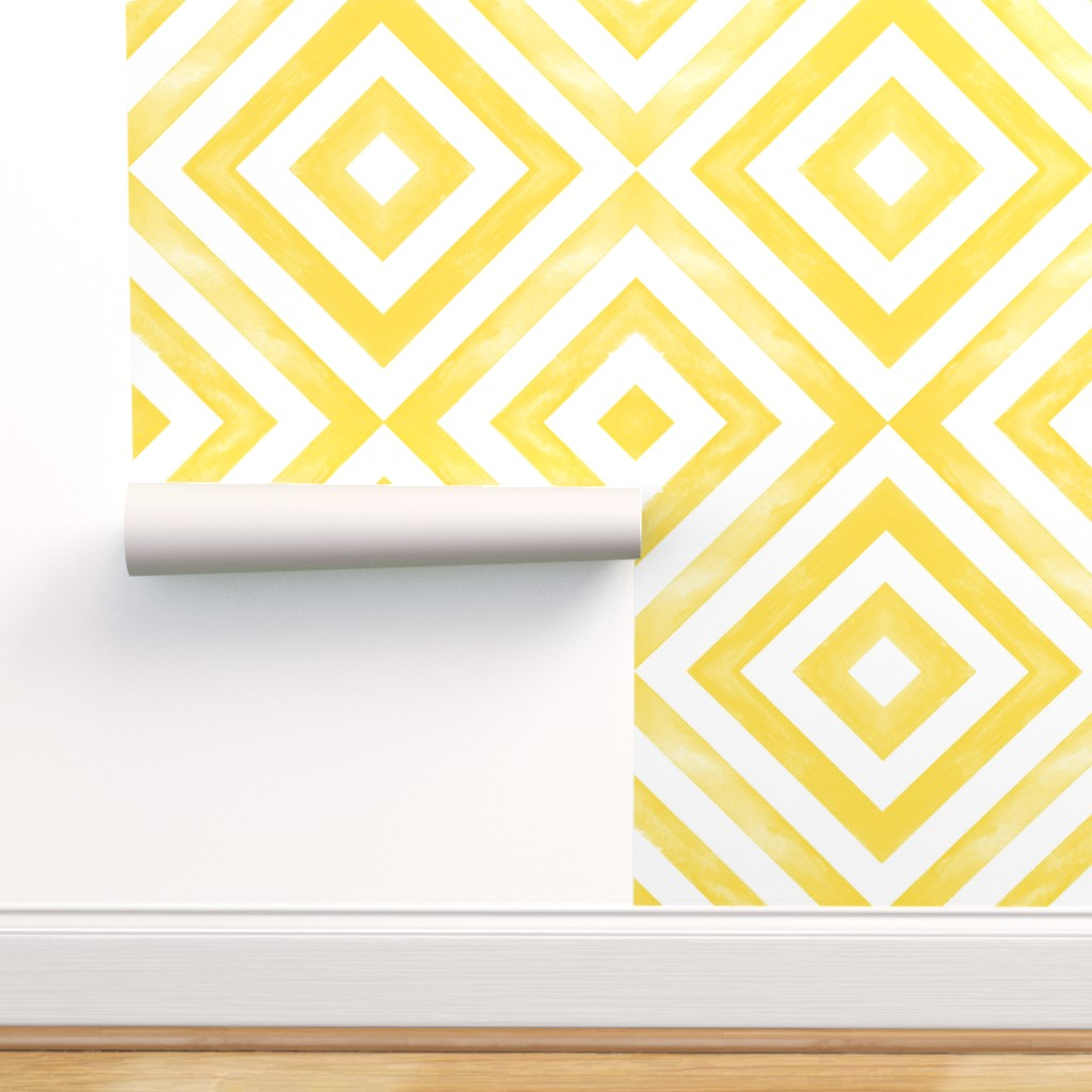 Removable Water-Activated Wallpaper Desert Geometric Sunny Yellow Weathered Look