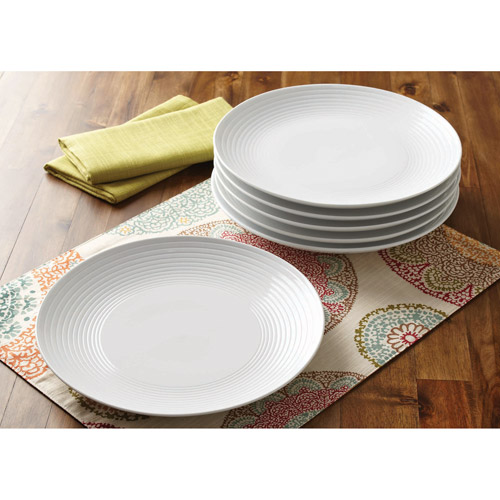 Better Homes and Gardens Round Ribbed Dinner Plates, White, Set of 6