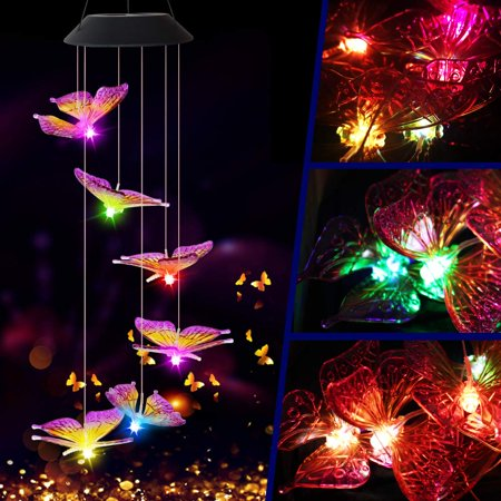 Image of Solar Butterfly Chime Light, EpicGadget Solar Powered Color Changing LED Hanging Butterfly Wind Chime Light for Outdoor Indoor Gardening Yard Pathway Decoration (Purple Wing)