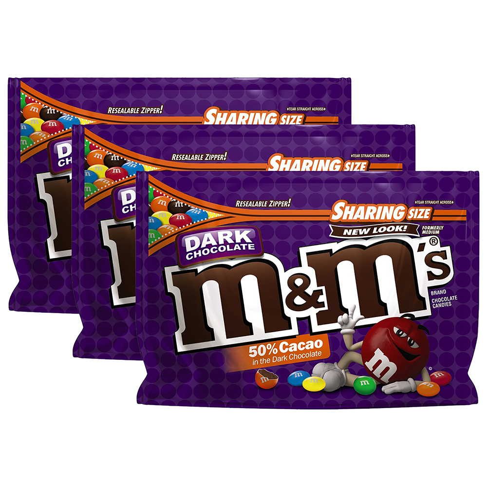 (3 Pack) M&M's, Dark Chocolate Candies, 10.1 Oz