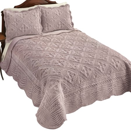 Faux Fur Quilt with Gorgeous Intricate Diamond Pattern, Raised Soft Texture Decorative Accents, Full/Queen, (Faux Silk Quilt)
