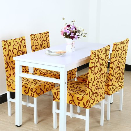 Awesome Piccocasa Stretch Dining Room Chair Cover For Shorty Parson Chair Yellow Squirreltailoven Fun Painted Chair Ideas Images Squirreltailovenorg