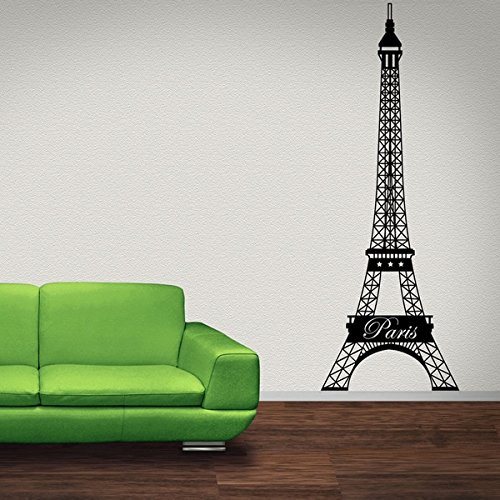 Eiffel Tower Wall Decal -Paris Wall Decal, Mural Sticker, Vinyl Wall Art, Architecture Decor - 3810 - White, 14in x 39in