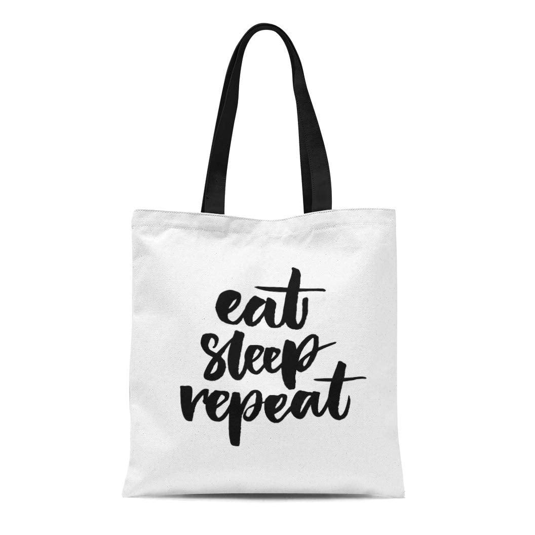 a0252cd2255a9 SIDONKU Canvas Tote Bag Sleepy Eat Sleep Funny Phrase Brush Lettering Day  Lazy Reusable Shoulder Grocery Shopping Bags Handbag