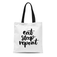 fdf6a47a7 Product Image SIDONKU Canvas Tote Bag Sleepy Eat Sleep Funny Phrase Brush  Lettering Day Lazy Reusable Shoulder Grocery