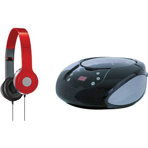 GPX BC112B Boom Box, CD Player and iLive IAH54 On - Ear Headphones